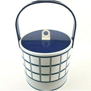 Vintage Geometric Striped Hard Plastic Ice Bucket